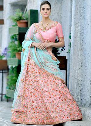 Designer Bist Pink Silk Embroidered Bridal Lehenga Choli For Wedding Wear