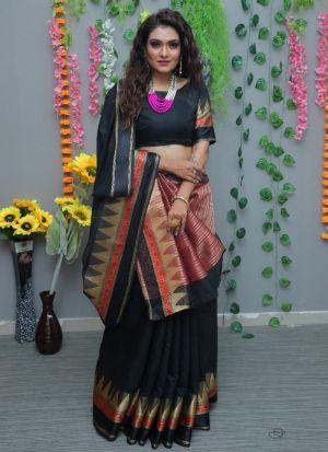 Designer Black Pure Cotton Silk Saree