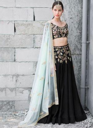 Designer Black Zari Work Lehenga Choli