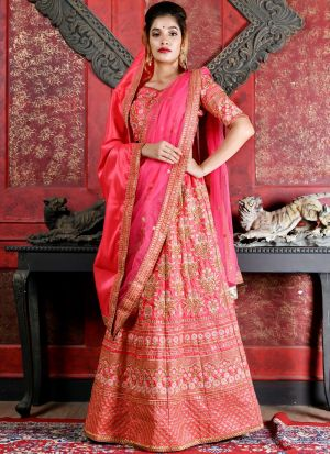 Designer Deep Pink Silk Embroidered Wedding Lehenga Choli With Bridal Net Dupatta
