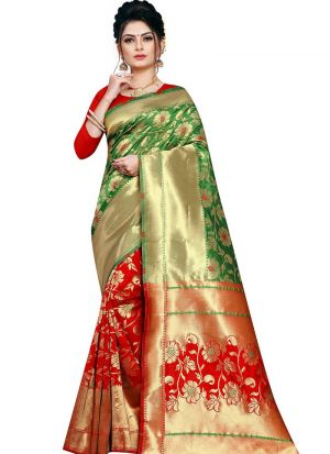Designer Festival Green And Red Kota Silk Fancy Saree