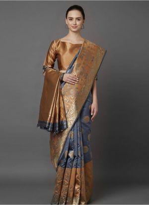 Designer Festival Grey And Brown Soft Silk Fancy Saree