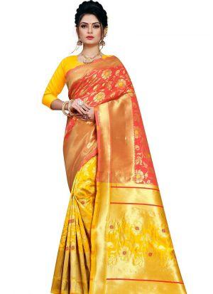 Designer Festival Yellow And Orange Red Kota Silk Fancy Saree