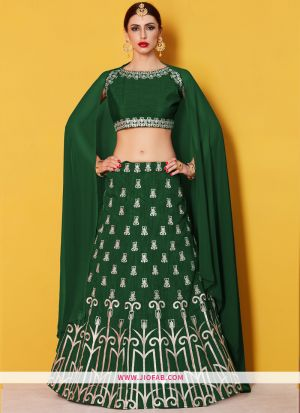 Designer Green Embroidered Art Silk Ceremony Anarkali Lehenga