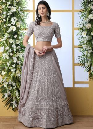 Designer Grey Georgette Lehenga Choli For Function