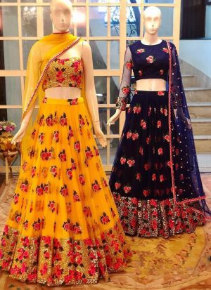 Designer Haldi Wear Yellow Soft Mono Net Sequence Work Lehenga Choli