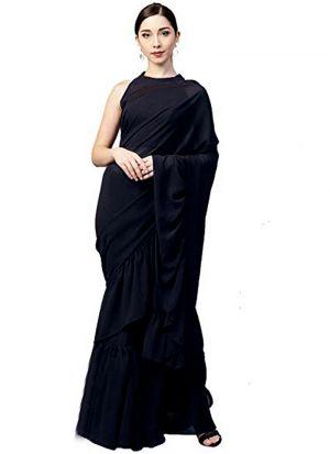 Designer Heavy Black Georgette Silk Party Wear Ruffle Saree