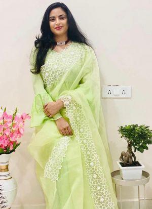 Designer Light Lime Green Silk Saree