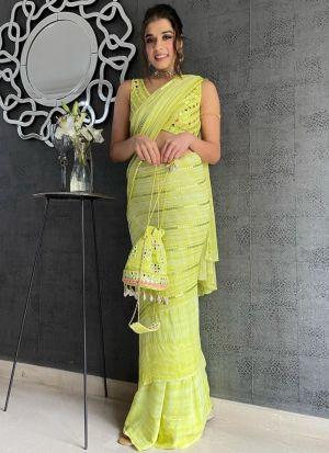 Designer Lime Green Georgette Saree