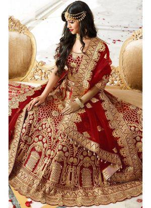 Designer Maroon Banglori Silk Diamond Work Wedding Lehenga Choli With Mono Net Dupatta