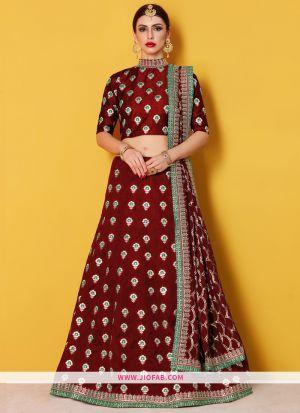 Designer Maroon Embroidered Art Silk Bridal Anarkali Lehenga
