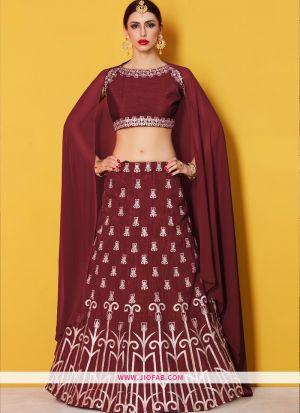 Designer Maroon Embroidered Art Silk Traditional Lehenga Choli
