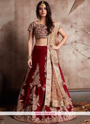 Designer Maroon Embroidered Velvet Silk Partywear Lehenga Choli
