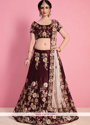 Designer Maroon Embroidered Velvet Silk Traditional Lehenga Choli
