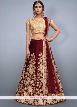 Designer Maroon Embroidered Velvet Silk Wedding Anarkali Lehenga