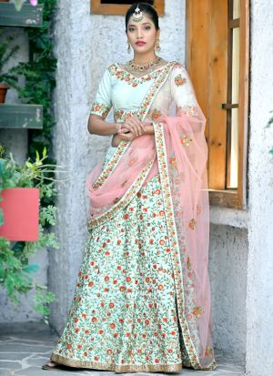 Designer Mint Green Silk Embroidered Bridal Lehenga Choli For Wedding Wear