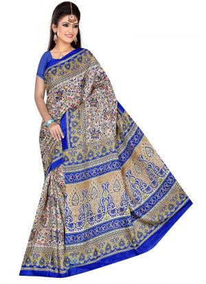 Designer Multi Color Printed Rice Silk Saree