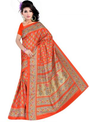 Designer Multi Color Rice Silk Printed Saree