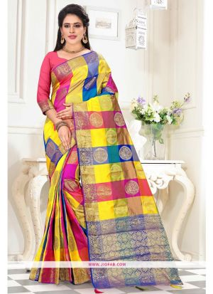 Designer Multi Color Top Dyed Saree With Weaving Work