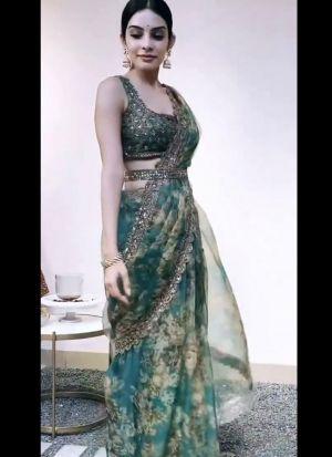 Designer Party Wear Peacock Green Saree