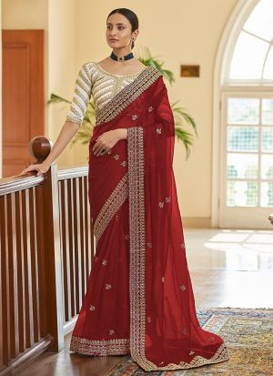 Designer Party Wear Red Saree