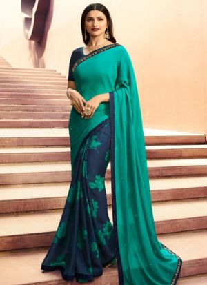 Designer Partywear Printed Rama And Navy White Rangoli Fancy Saree