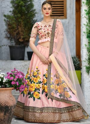 Designer Peach Embroidered Lehenga Choli For Wedding Wear