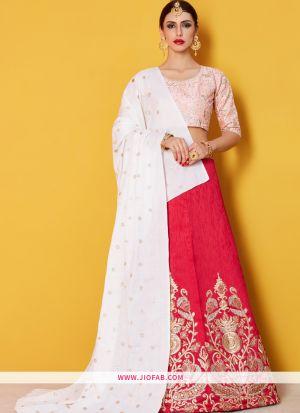 Designer Pink Embroidered Art Silk Bridal Anarkali Lehenga