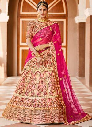 Designer Pink Velvet Lehenga Choli