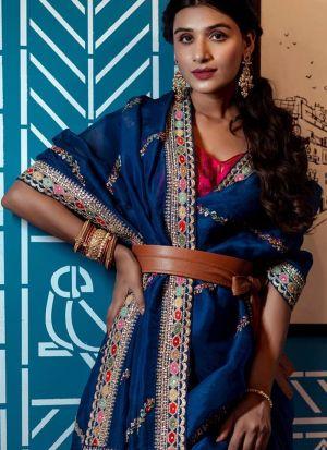 Designer Rajwadi Silk Navy Blue Saree