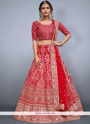 Designer Red Embroidered Art Silk Partywear Lehenga