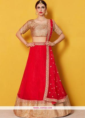 Designer Red Embroidered Art Silk Traditional Lehenga Choli