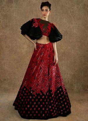 Designer Red Viscose Velvet Lehenga Choli