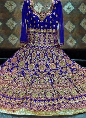Designer Royal Blue Banglori Silk Wedding Lehenga Choli With Mono Net Dupatta