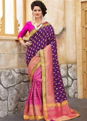 Designer Wedding Purple And Pink Banarasi Silk Saree