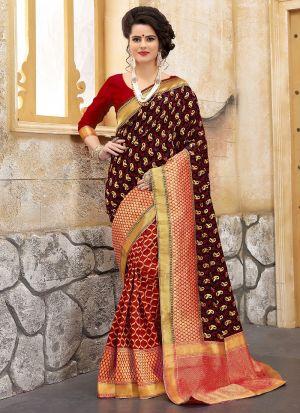 Designer Wedding Rama And Red Banarasi Silk Saree