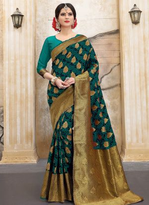 Designer Wedding Rama Banarasi Silk Saree