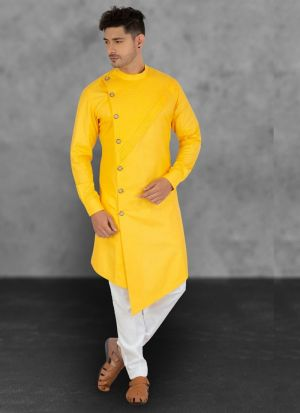 Designer Yellow Cotton Kurta With Pant
