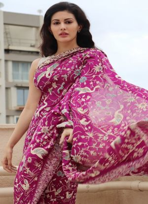Digital Print Purple Bollywood Style Party Wear Saree