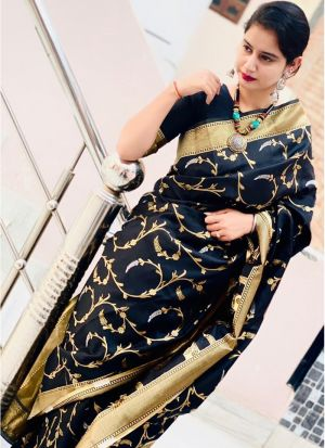 Black Weaving Lichi Silk Traditional Looking Saree