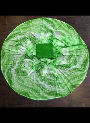 Digital Printed Georgette Green Saree