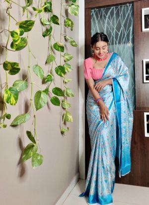 Digital Printed Sky Blue Festive Wear Saree