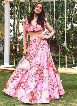 Digital Printed Soft Taffeta Alia Bhatt Light Pink Lehenga Choli