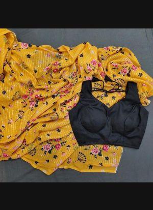 Digital Printed Yellow Georgette Saree