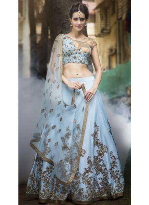 Diwali Festive Special Sky Blue Color Heavy Embroidery Designer Bridal Lehenga Choli