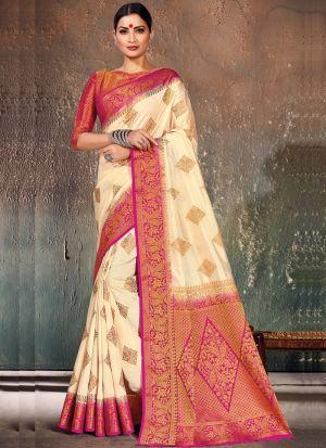 Diwali New Collections Pink Naylon Silk Saree