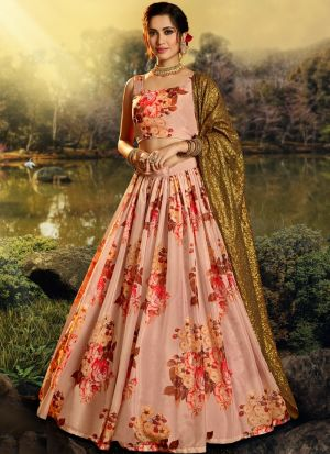 Diwali Wear Peach Organza Digital Printed Lehenga Choli