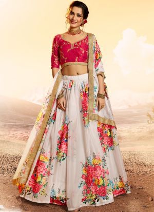 Diwali Wear White Organza Digital Printed Lehenga Choli