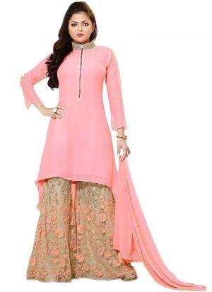 Drashti Dhami Pink Georgette Suit