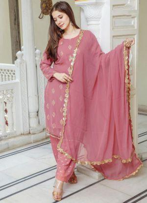 Dusty Pink Printed Salwar Suit